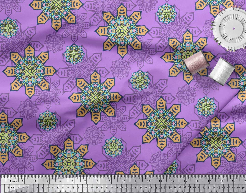 Soimoi-Cotton-Poplin-Fabric-Aboriginal-Mosaic-Print-Fabric-by-metre-oTx thumbnail 3