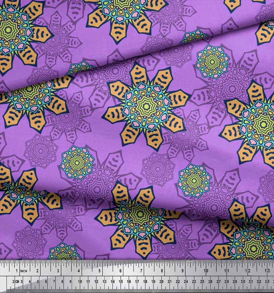 Soimoi-Cotton-Poplin-Fabric-Aboriginal-Mosaic-Print-Fabric-by-metre-oTx thumbnail 4