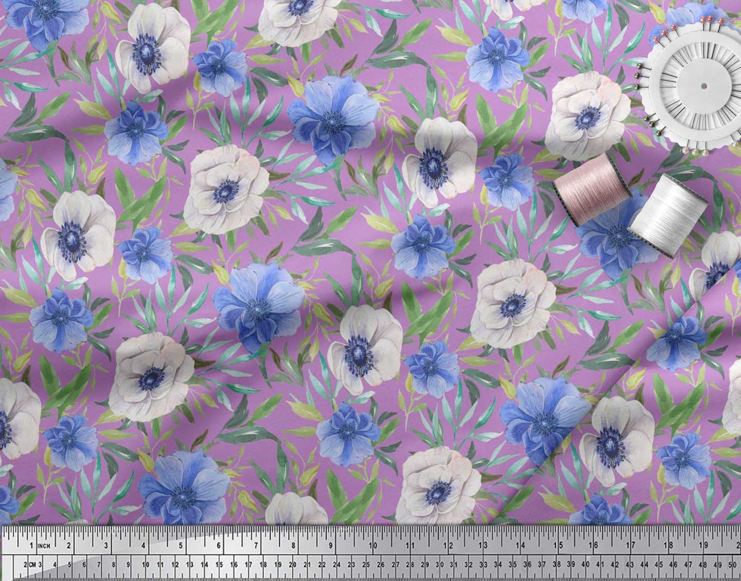 Soimoi-Cotton-Poplin-Fabric-Leaves-amp-Anemone-Floral-Print-Fabric-6Kw thumbnail 4