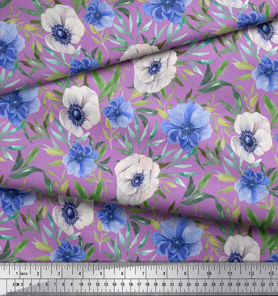 Soimoi-Cotton-Poplin-Fabric-Leaves-amp-Anemone-Floral-Print-Fabric-6Kw thumbnail 3