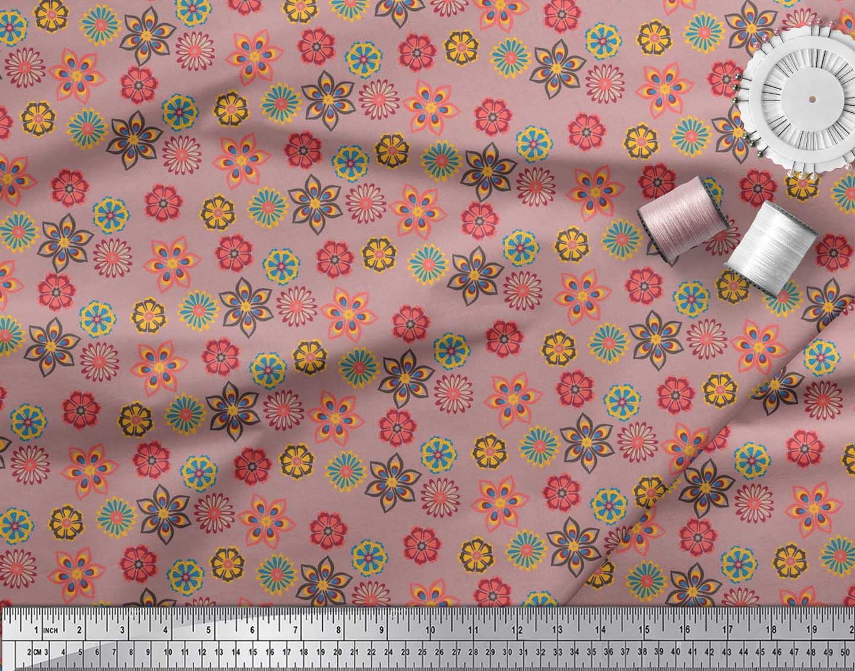 Soimoi-Cotton-Poplin-Fabric-Artistic-Floral-Print-Fabric-by-the-jR1 thumbnail 4
