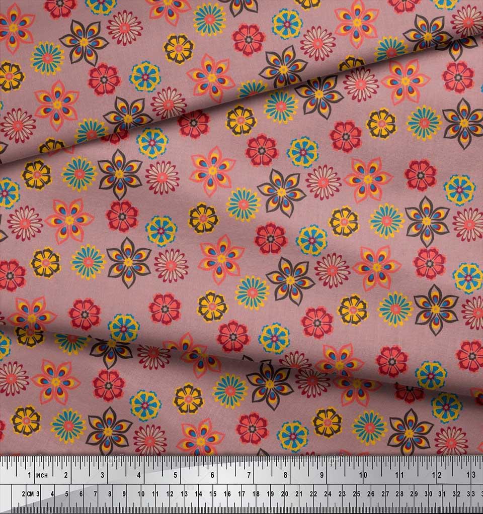 Soimoi-Cotton-Poplin-Fabric-Artistic-Floral-Print-Fabric-by-the-jR1 thumbnail 3