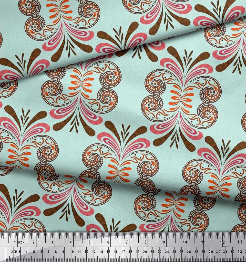 Soimoi-Cotton-Poplin-Fabric-Palmette-Damask-Printed-Fabric-1-metre-M5g thumbnail 3