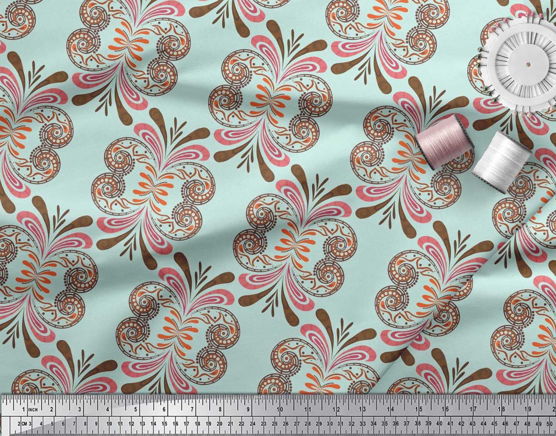 Soimoi-Cotton-Poplin-Fabric-Palmette-Damask-Printed-Fabric-1-metre-M5g thumbnail 4