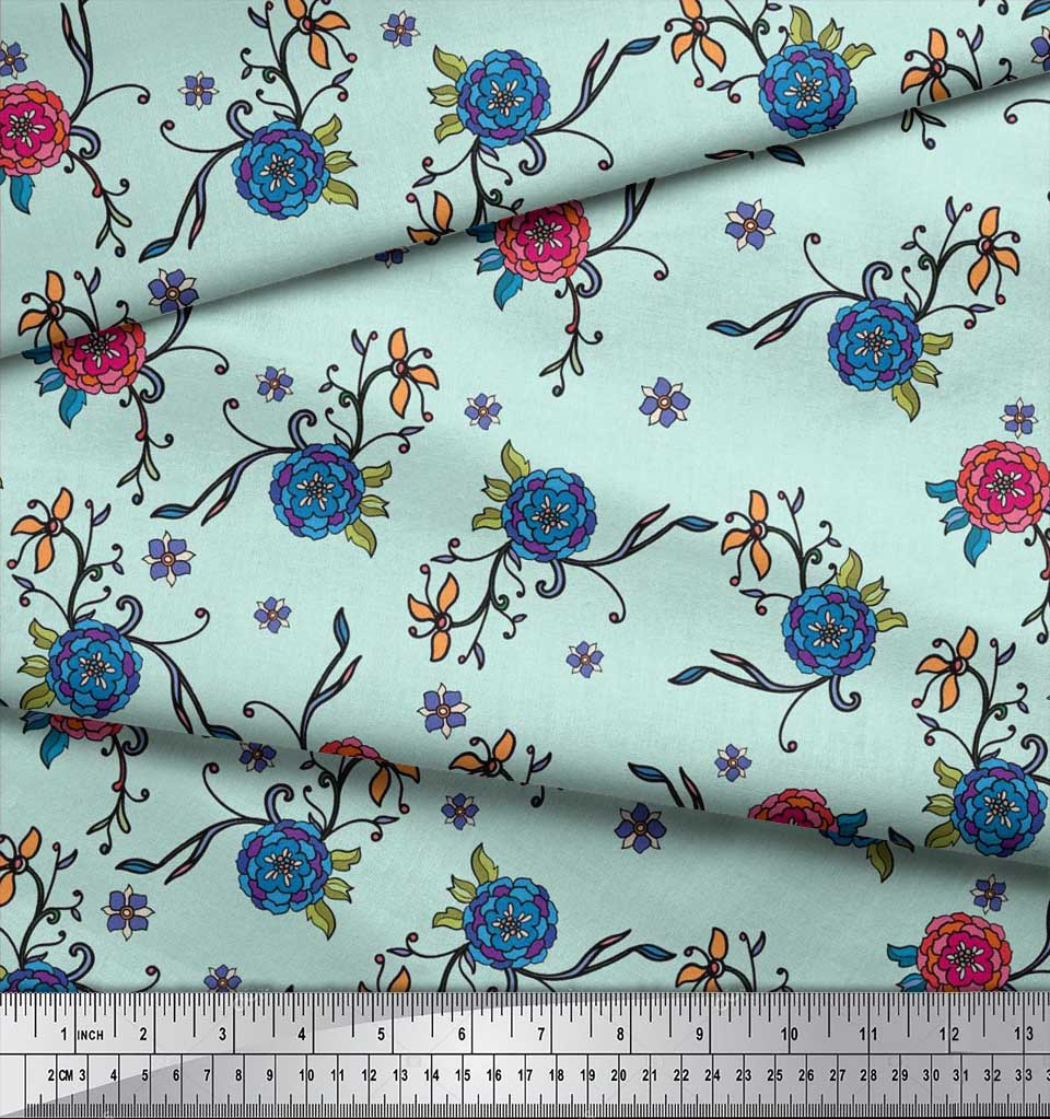 Soimoi-Cotton-Poplin-Fabric-Leaves-amp-Camellias-Floral-Print-Sewing-i2A thumbnail 4