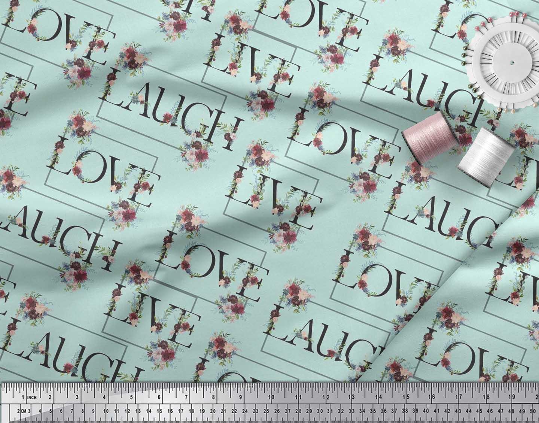 Soimoi-Cotton-Poplin-Fabric-Floral-Love-Text-Printed-Fabric-1-metre-t50 thumbnail 4