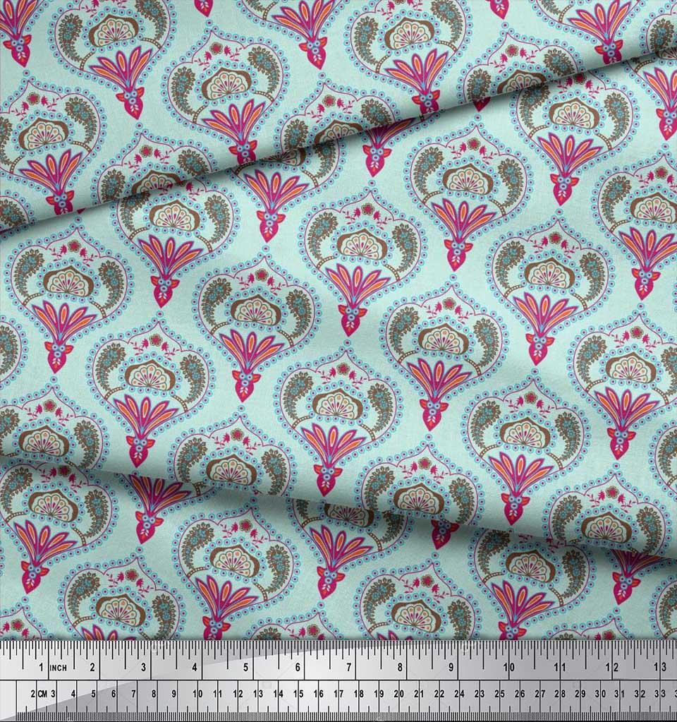 Soimoi-Cotton-Poplin-Fabric-Moroccan-Damask-Printed-Fabric-1-metre-ja1 thumbnail 3