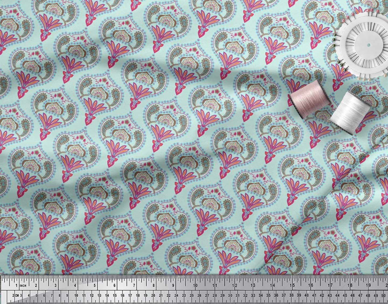 Soimoi-Cotton-Poplin-Fabric-Moroccan-Damask-Printed-Fabric-1-metre-ja1 thumbnail 4