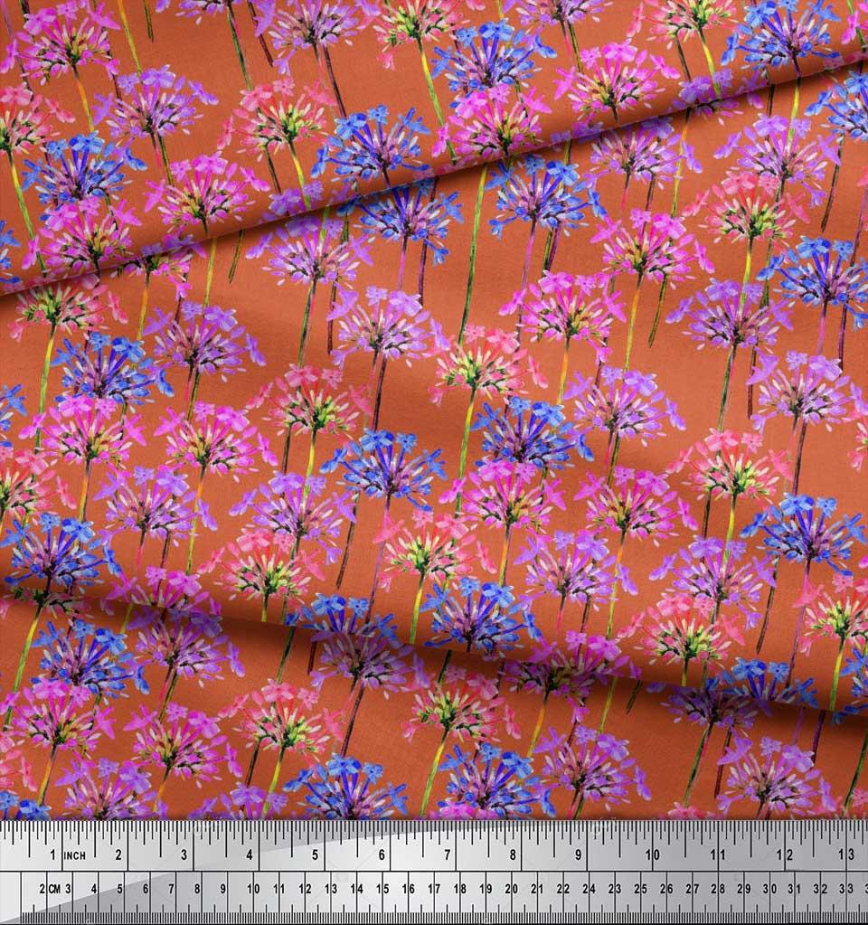 Soimoi-Cotton-Poplin-Fabric-Periwinkle-Floral-Printed-Craft-Fabric-Ubd thumbnail 4