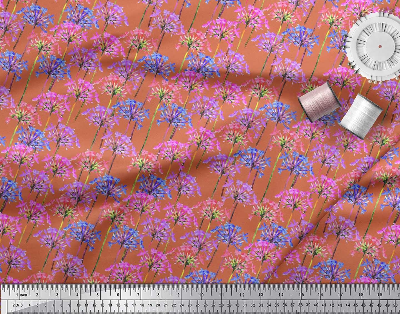 Soimoi-Cotton-Poplin-Fabric-Periwinkle-Floral-Printed-Craft-Fabric-Ubd thumbnail 3