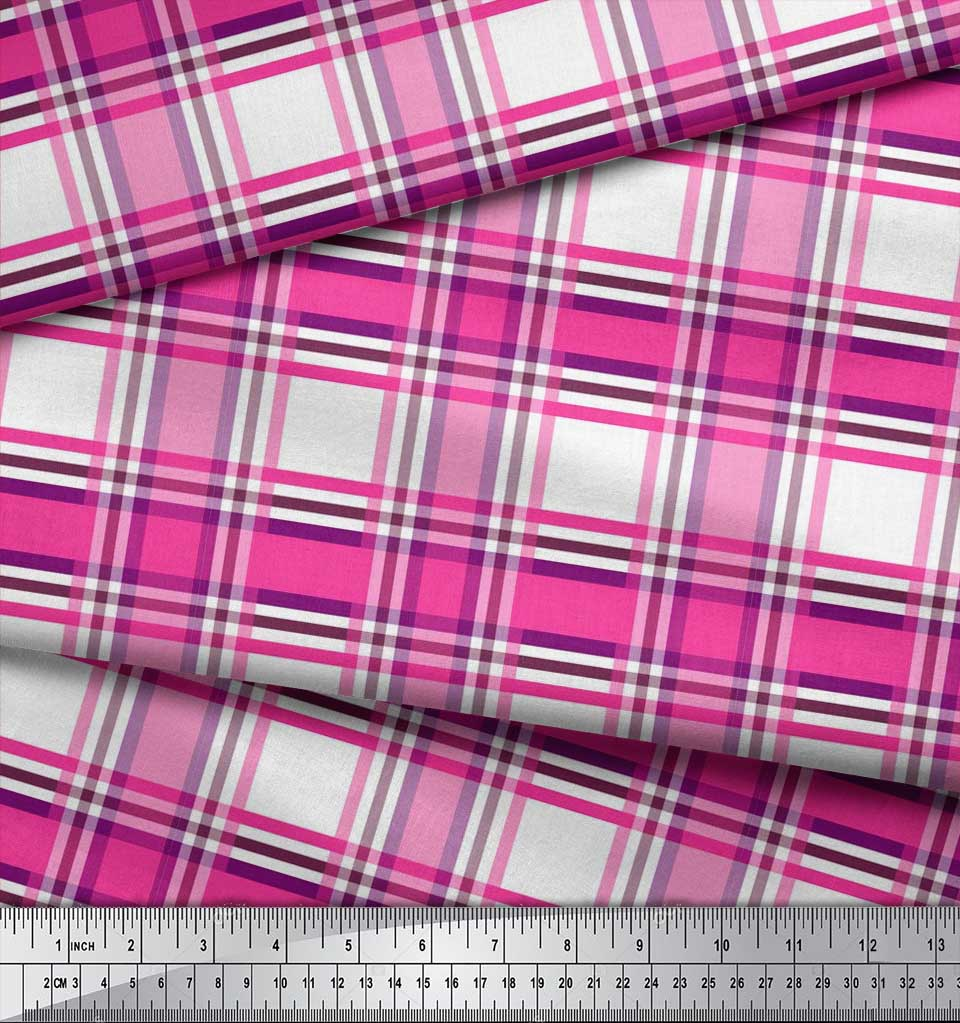 Soimoi-Cotton-Poplin-Fabric-Gingham-Check-Print-Fabric-by-the-metre-cJC thumbnail 4