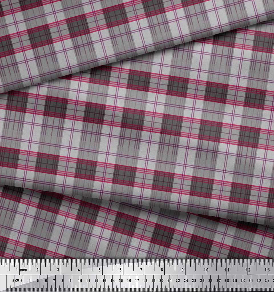 Soimoi-Cotton-Poplin-Fabric-Plaid-Check-Printed-Craft-Fabric-by-1Hz thumbnail 4