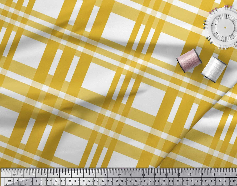Soimoi-Gold-Cotton-Poplin-Fabric-Plaid-Check-Printed-Fabric-1-metre-eZ1 thumbnail 3