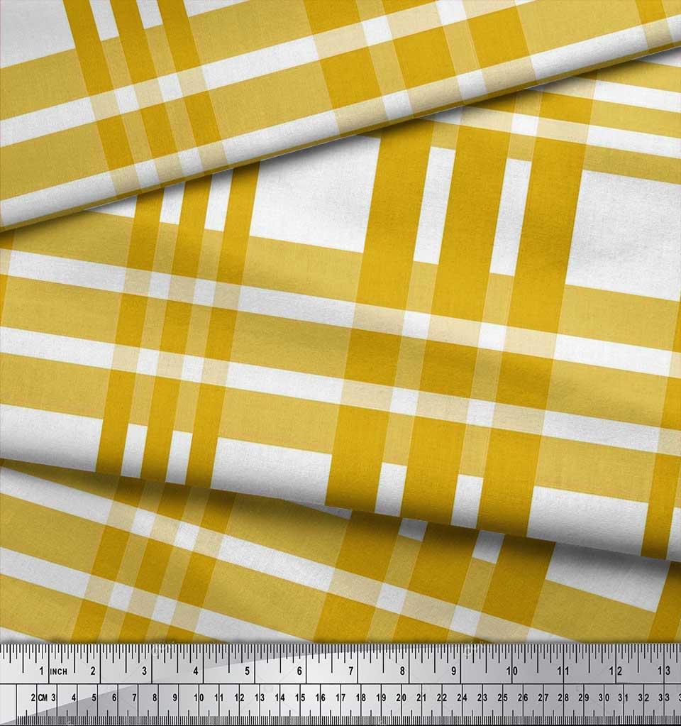 Soimoi-Gold-Cotton-Poplin-Fabric-Plaid-Check-Printed-Fabric-1-metre-eZ1 thumbnail 4