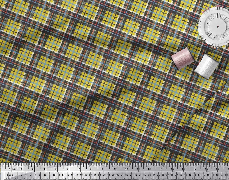 Soimoi-Cotton-Poplin-Fabric-Plaid-Check-Print-Fabric-by-the-metre-fsY thumbnail 3