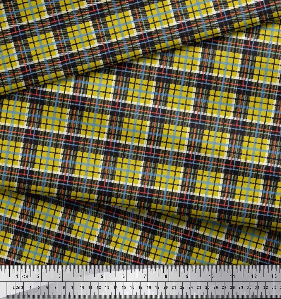 Soimoi-Cotton-Poplin-Fabric-Plaid-Check-Print-Fabric-by-the-metre-fsY thumbnail 4
