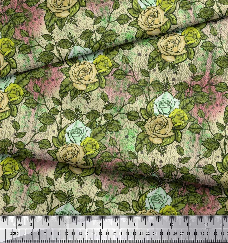 Soimoi-Cotton-Poplin-Fabric-Leaves-amp-Grandiflora-Roses-Floral-Printed-y6m thumbnail 3