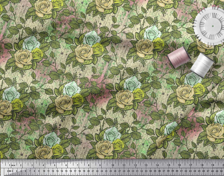 Soimoi-Cotton-Poplin-Fabric-Leaves-amp-Grandiflora-Roses-Floral-Printed-y6m thumbnail 4