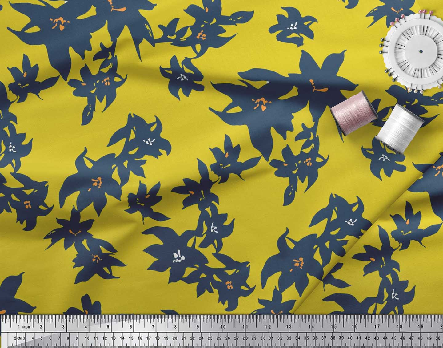 Soimoi-Cotton-Poplin-Fabric-Artistic-Floral-Printed-Craft-Fabric-15t thumbnail 3