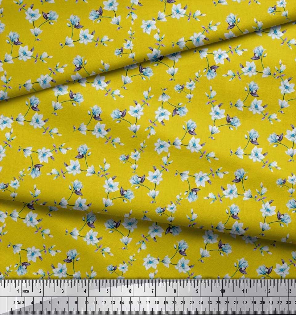 Soimoi-Cotton-Poplin-Fabric-Leaves-amp-Magnolia-Floral-Decor-Fabric-VbS thumbnail 3