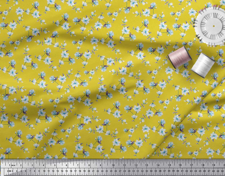 Soimoi-Cotton-Poplin-Fabric-Leaves-amp-Magnolia-Floral-Decor-Fabric-VbS thumbnail 4