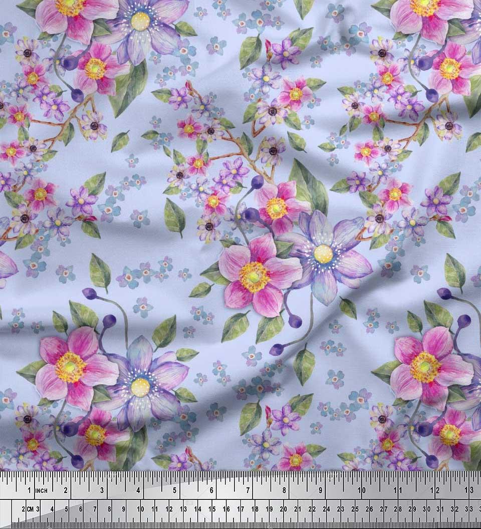 Soimoi Fabric Lemur /& Anemone Floral Print Fabric by the Yard FL-314F