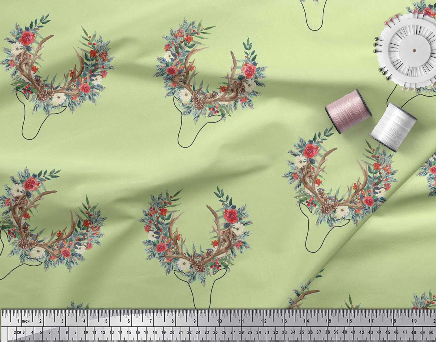 Soimoi-Beige-Cotton-Poplin-Fabric-Antler-amp-Half-Wreath-Floral-Decor-7nl thumbnail 3