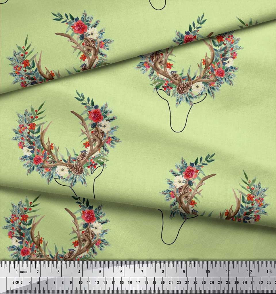 Soimoi-Beige-Cotton-Poplin-Fabric-Antler-amp-Half-Wreath-Floral-Decor-7nl thumbnail 4