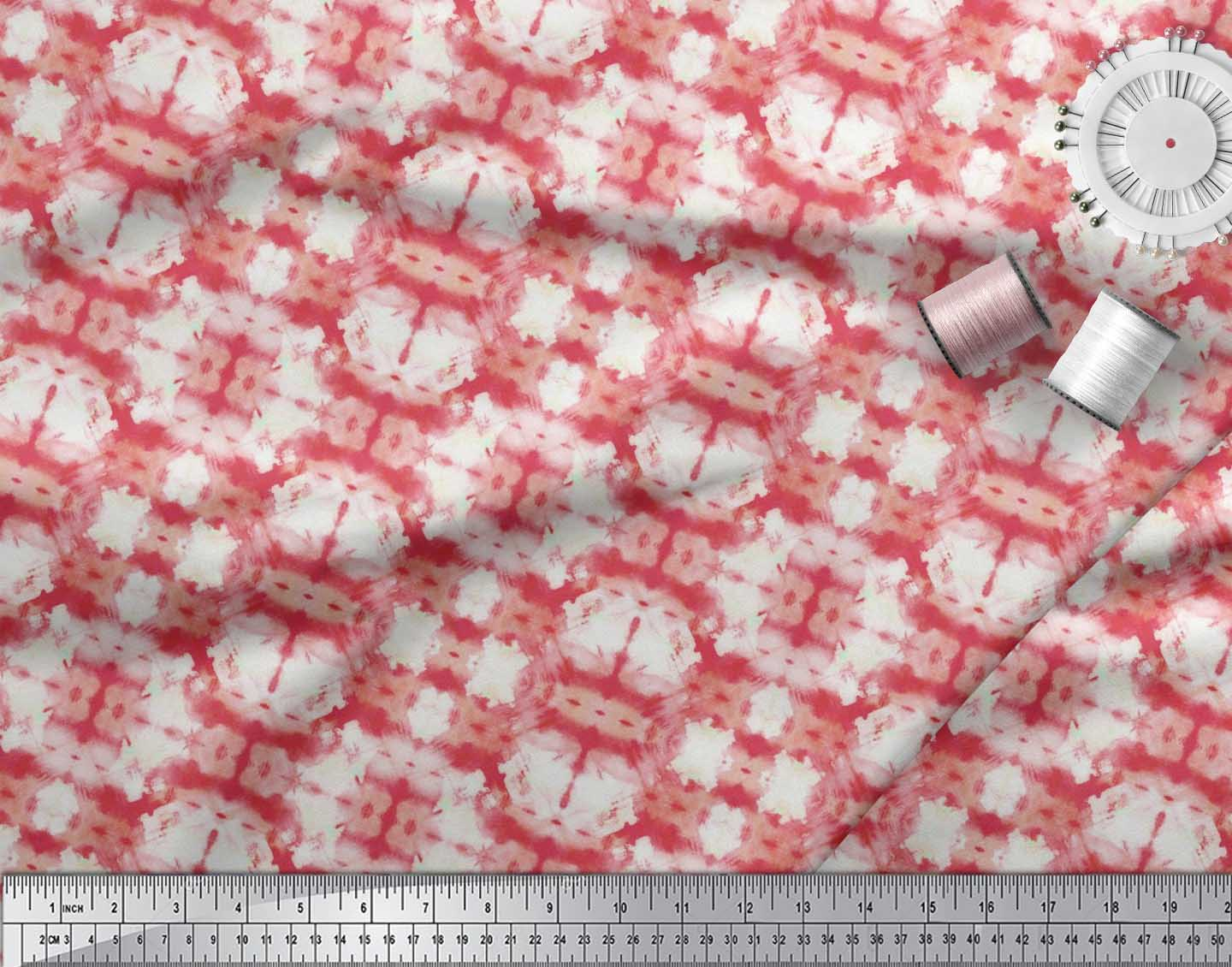 Soimoi-Cotton-Poplin-Fabric-Geometric-Tie-Dye-Printed-Craft-Fabric-40e thumbnail 3