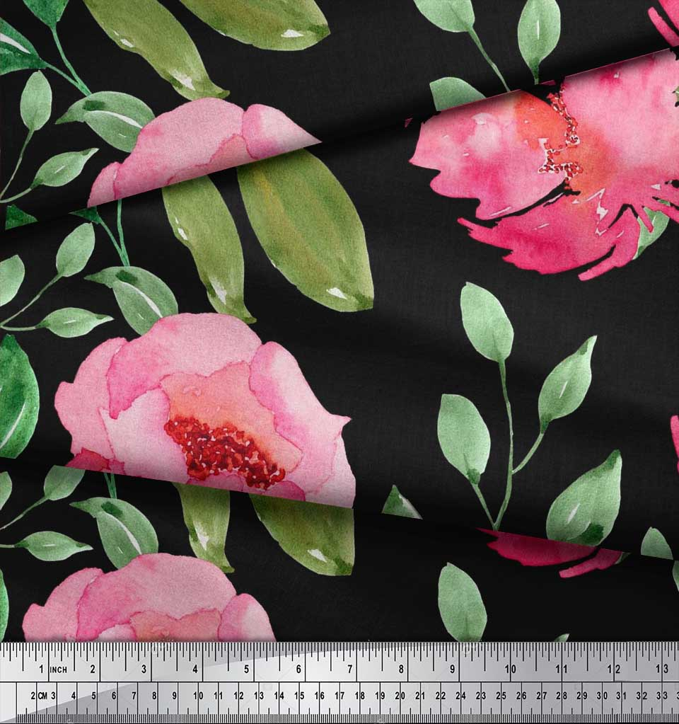 Soimoi-Cotton-Poplin-Fabric-Flower-amp-Leaves-Watercolor-Print-Fabric-Nwv thumbnail 3