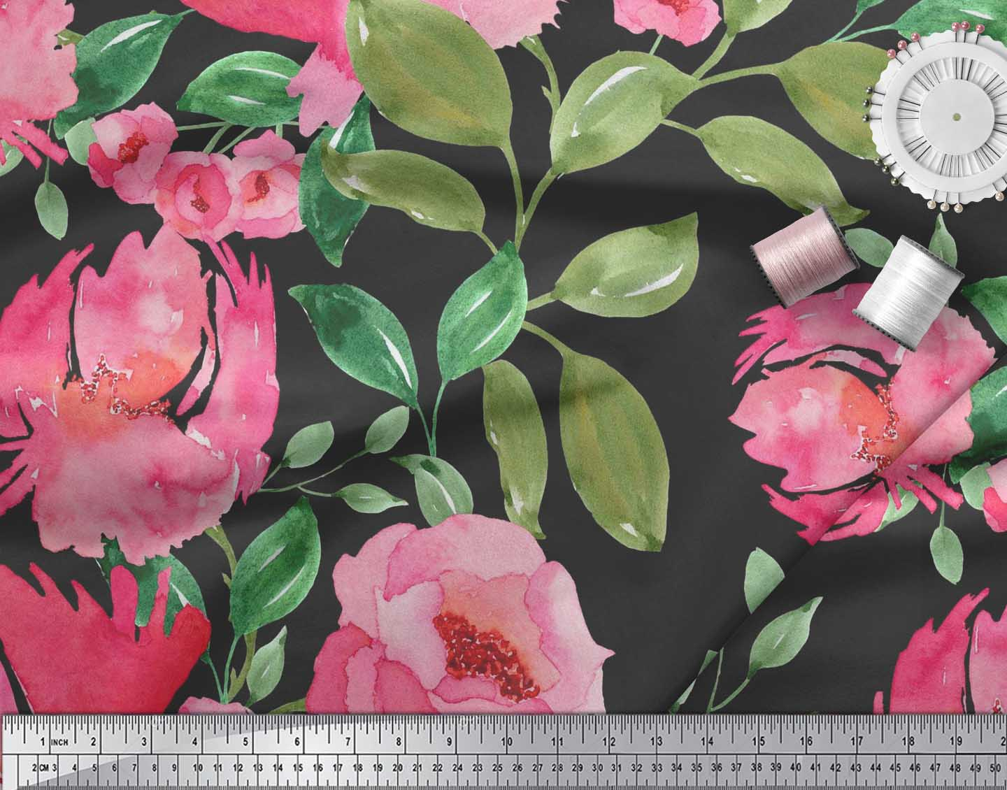 Soimoi-Cotton-Poplin-Fabric-Flower-amp-Leaves-Watercolor-Print-Fabric-Nwv thumbnail 4