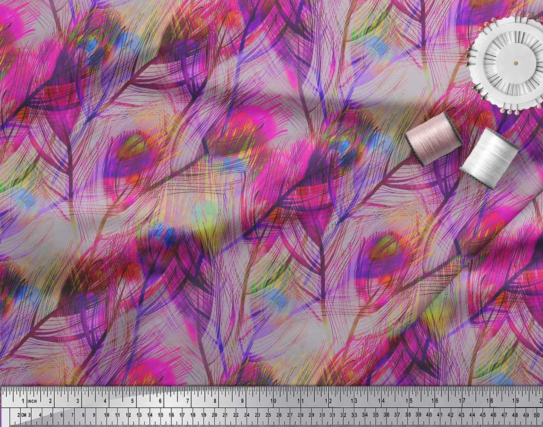 Soimoi-Cotton-Poplin-Fabric-Peacock-Feather-Fabric-Prints-By-metre-3GI thumbnail 3