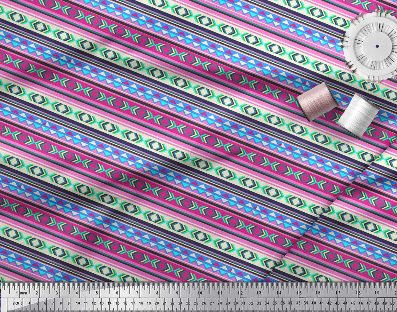 Soimoi-Cotton-Poplin-Fabric-Aztec-Geometric-Printed-Fabric-1-metre-K2J thumbnail 4