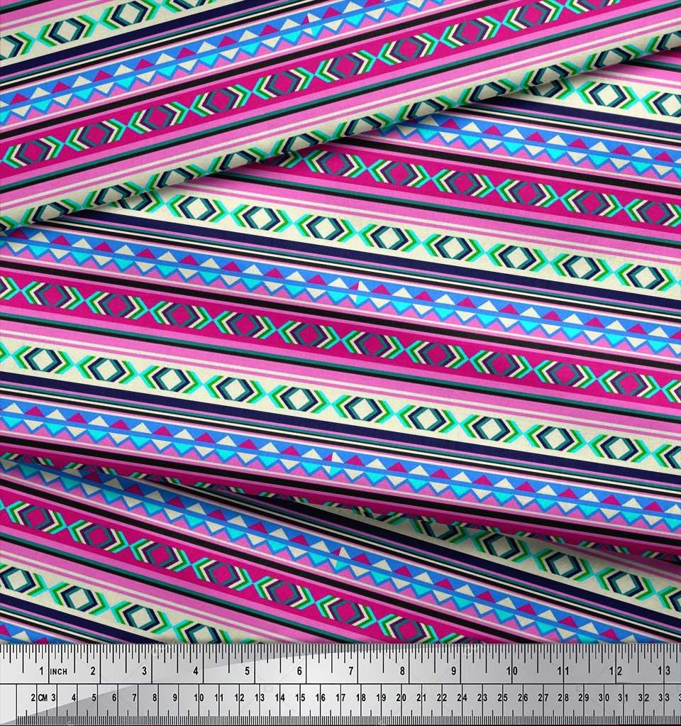 Soimoi-Cotton-Poplin-Fabric-Aztec-Geometric-Printed-Fabric-1-metre-K2J thumbnail 3