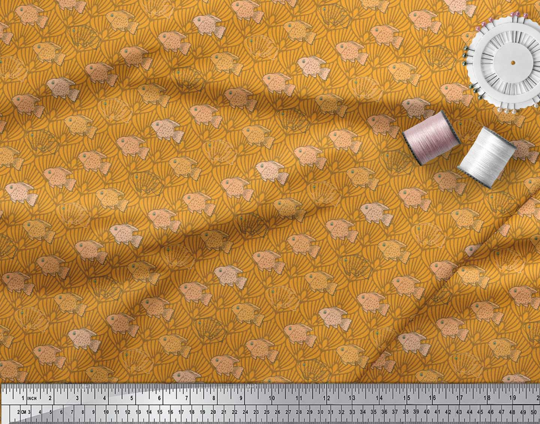 Soimoi-Cotton-Poplin-Fabric-Fish-amp-Shells-Ocean-Print-Fabric-by-3CO thumbnail 3