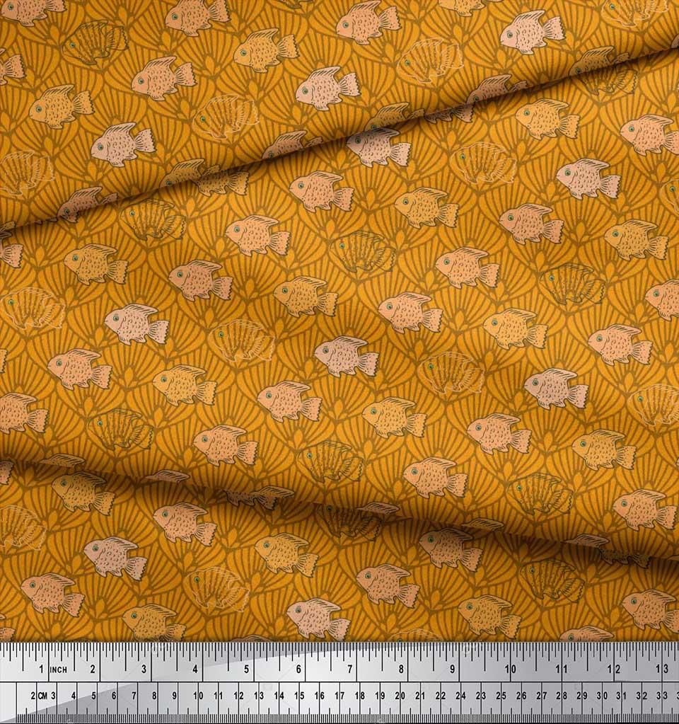 Soimoi-Cotton-Poplin-Fabric-Fish-amp-Shells-Ocean-Print-Fabric-by-3CO thumbnail 4