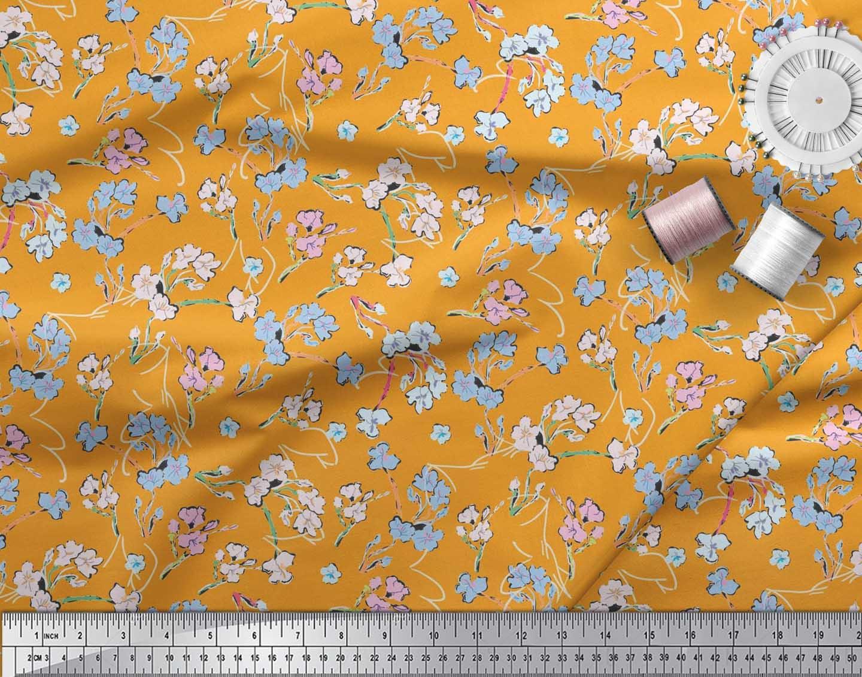 Soimoi-Cotton-Poplin-Fabric-Artistic-Floral-Printed-Fabric-1-metre-6Gf thumbnail 4