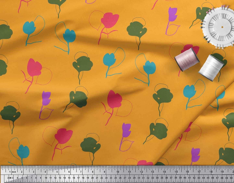 Soimoi-Cotton-Poplin-Fabric-Artistic-Floral-Print-Fabric-by-metre-DUX thumbnail 3