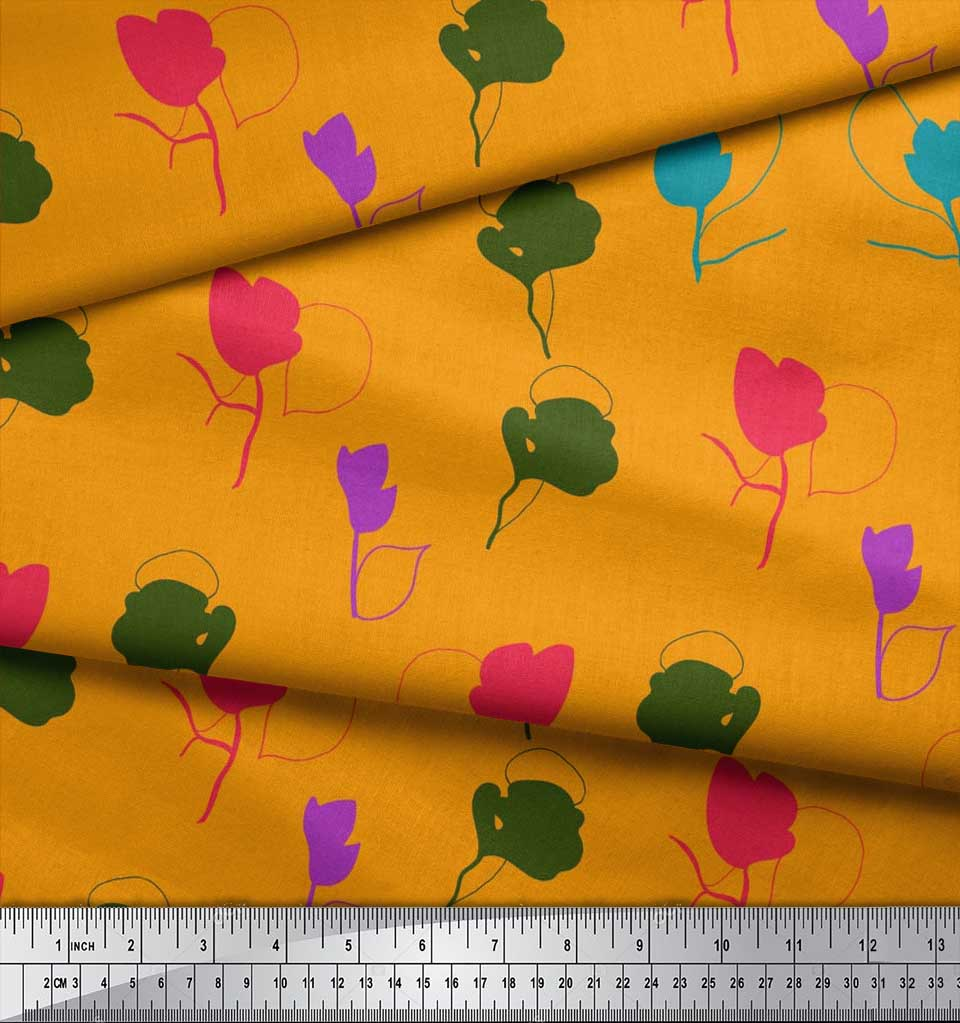 Soimoi-Cotton-Poplin-Fabric-Artistic-Floral-Print-Fabric-by-metre-DUX thumbnail 4
