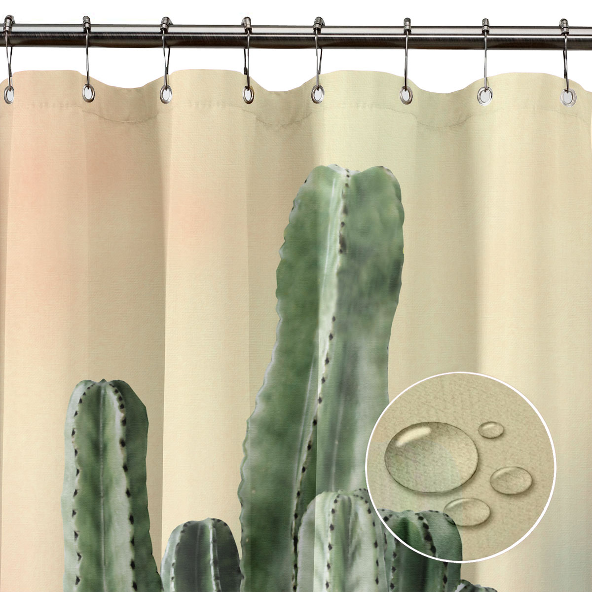 Fabric Bath//Shower Curtain Water Repellent 12 Hooks Rings Sizes 120//180//240