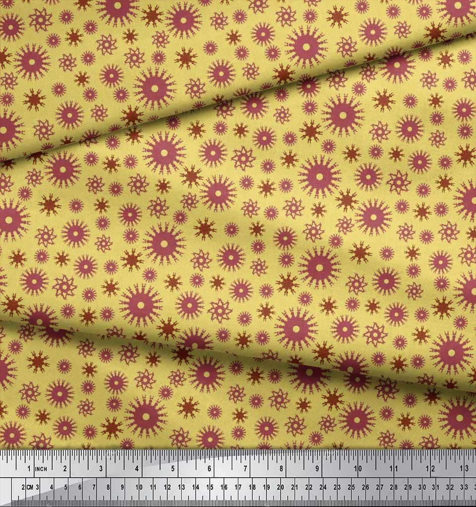 Soimoi-Cotton-Poplin-Fabric-Artistic-Floral-Print-Fabric-by-the-17F thumbnail 4