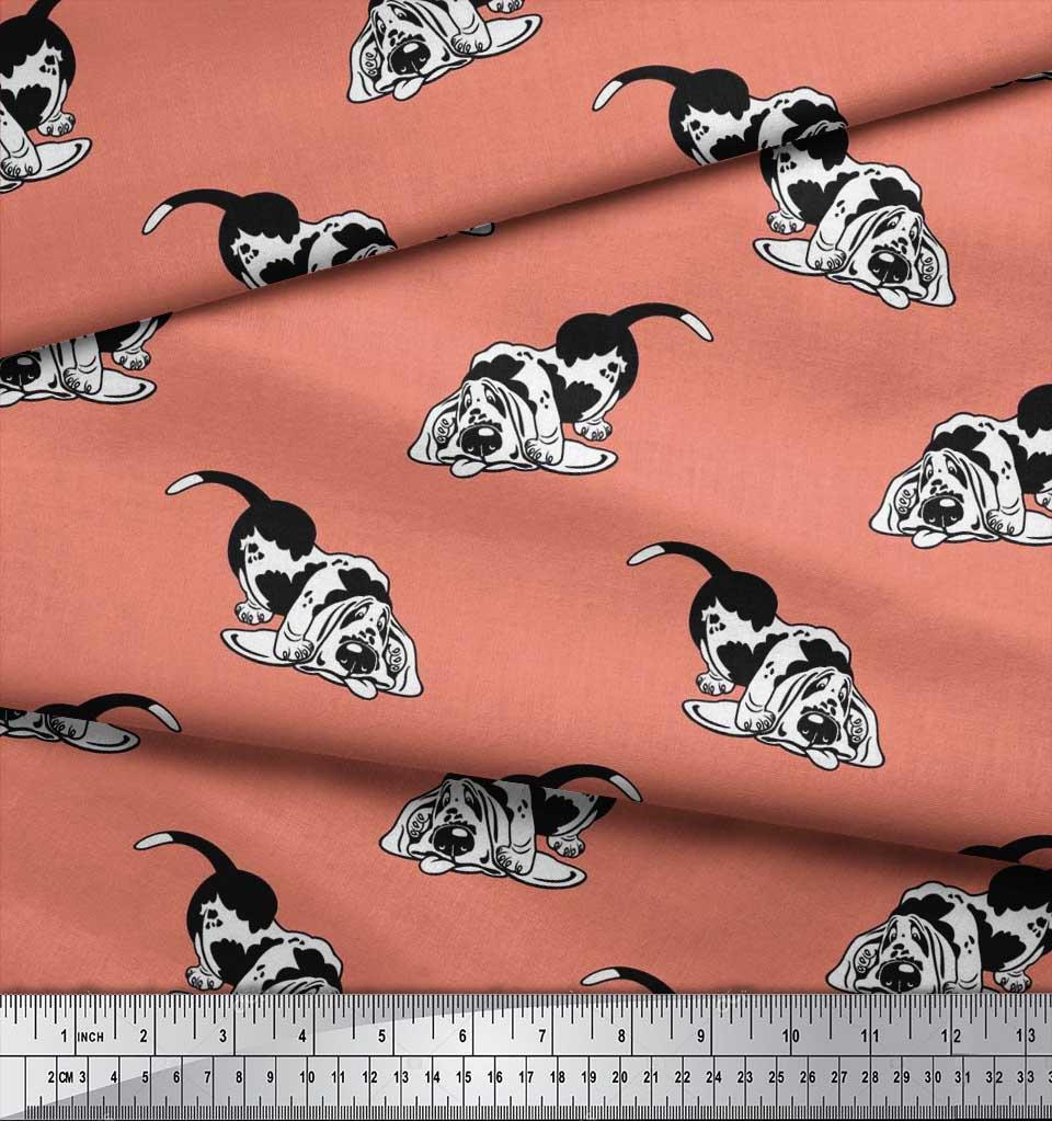 Soimoi-Cotton-Poplin-Fabric-Basset-Hound-Dog-Printed-Craft-Fabric-4Lc thumbnail 3