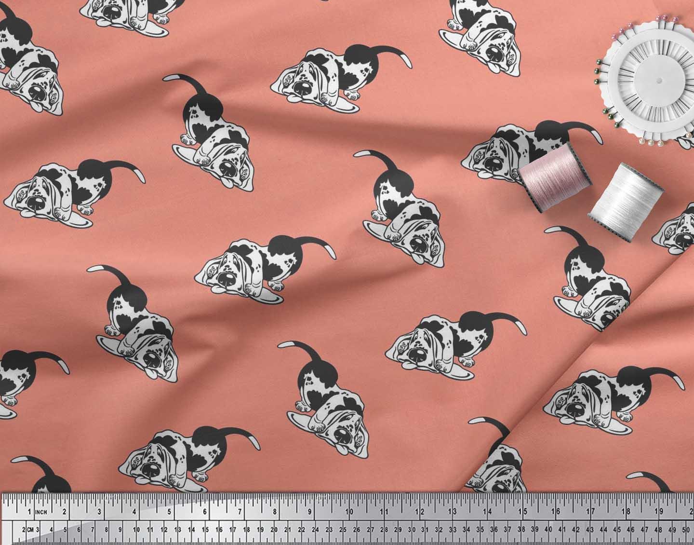 Soimoi-Cotton-Poplin-Fabric-Basset-Hound-Dog-Printed-Craft-Fabric-4Lc thumbnail 4