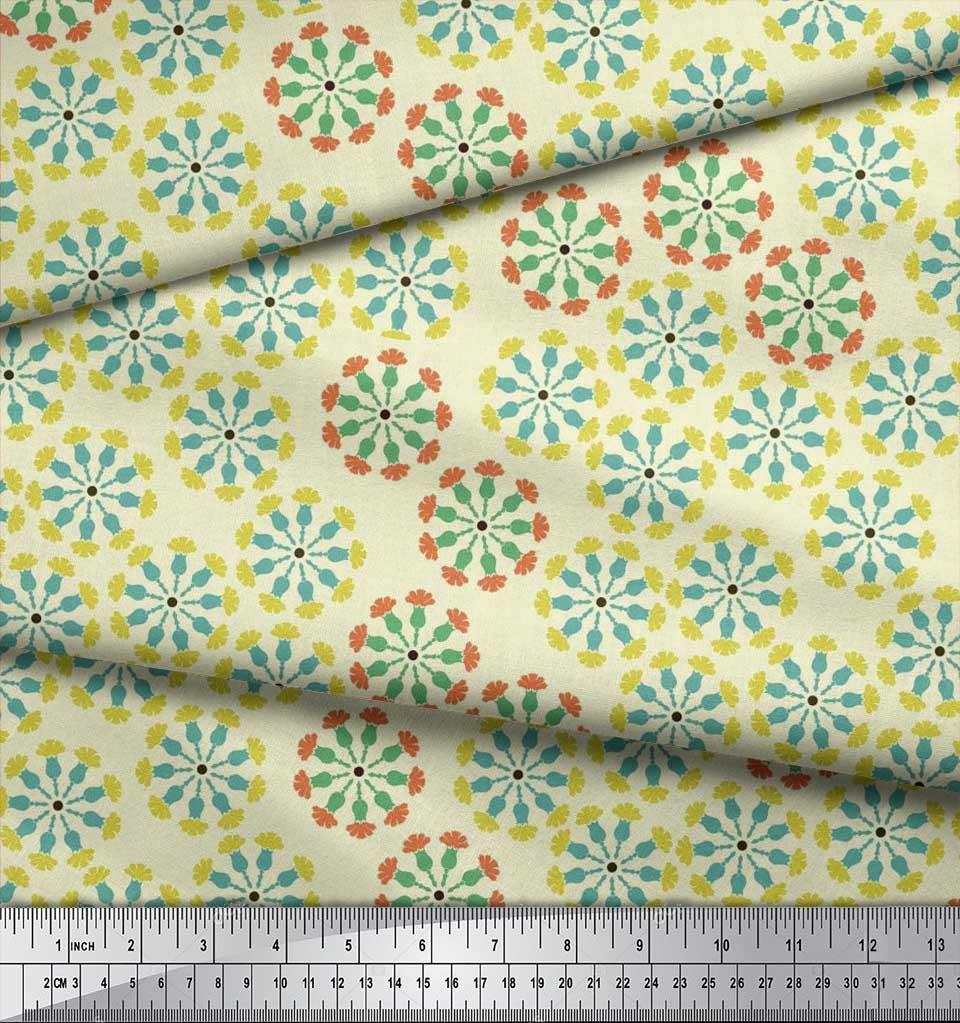 Soimoi-Cotton-Poplin-Fabric-Artistic-Floral-Print-Fabric-by-metre-48F thumbnail 3