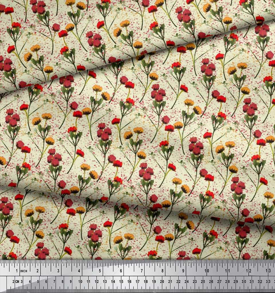 Soimoi-Cotton-Poplin-Fabric-Flower-Watercolor-Decor-Fabric-Printed-dVt thumbnail 3