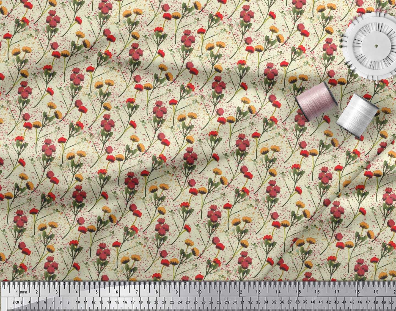 Soimoi-Cotton-Poplin-Fabric-Flower-Watercolor-Decor-Fabric-Printed-dVt thumbnail 4