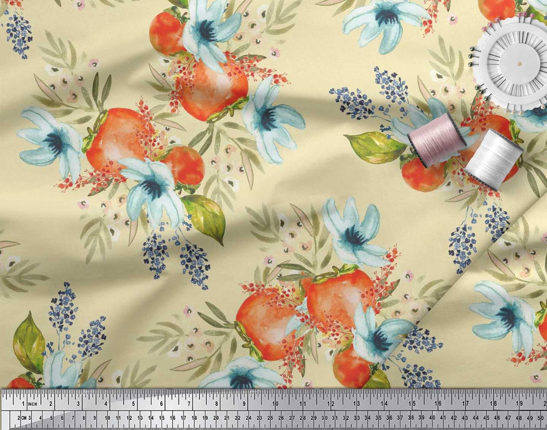 Soimoi-Yellow-Cotton-Poplin-Fabric-Tomato-amp-Freesia-Floral-Fabric-nDt thumbnail 3