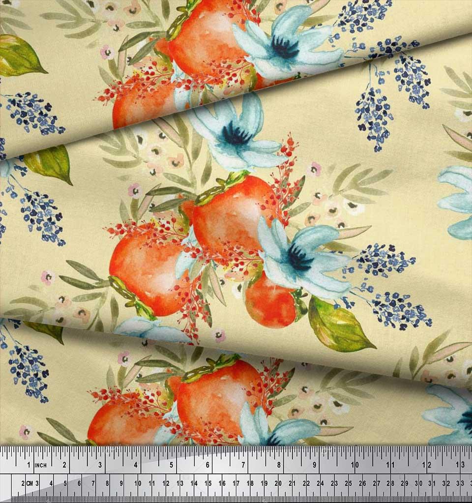 Soimoi-Yellow-Cotton-Poplin-Fabric-Tomato-amp-Freesia-Floral-Fabric-nDt thumbnail 4