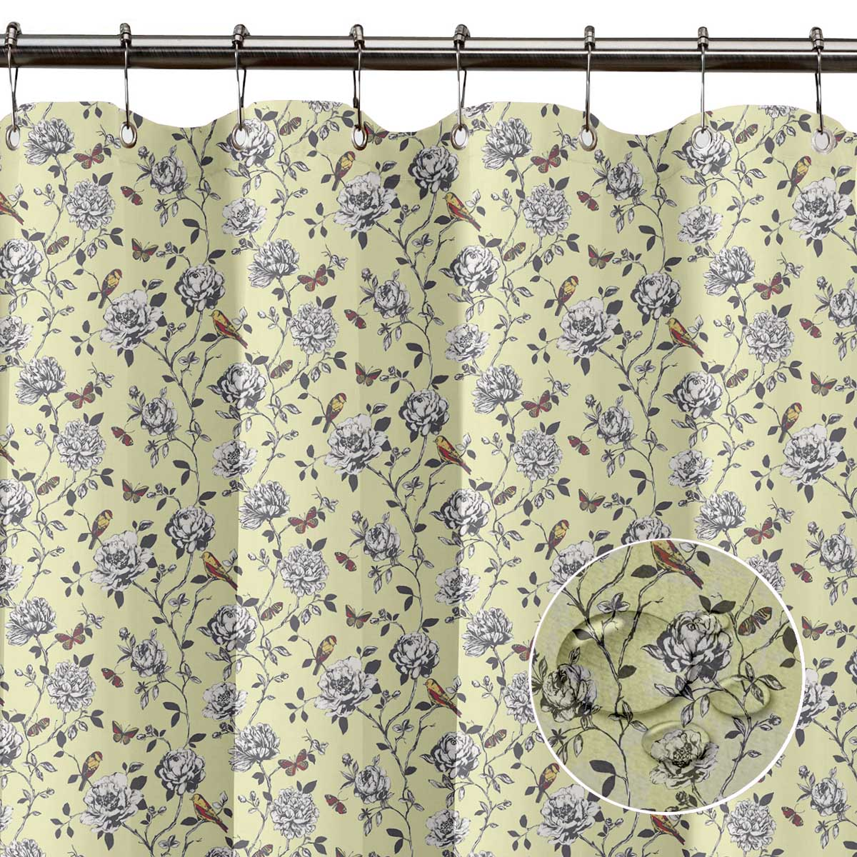 S4Sassy Grey Damask Floral Water Repellent Bath Shower Curtain With-DUQ