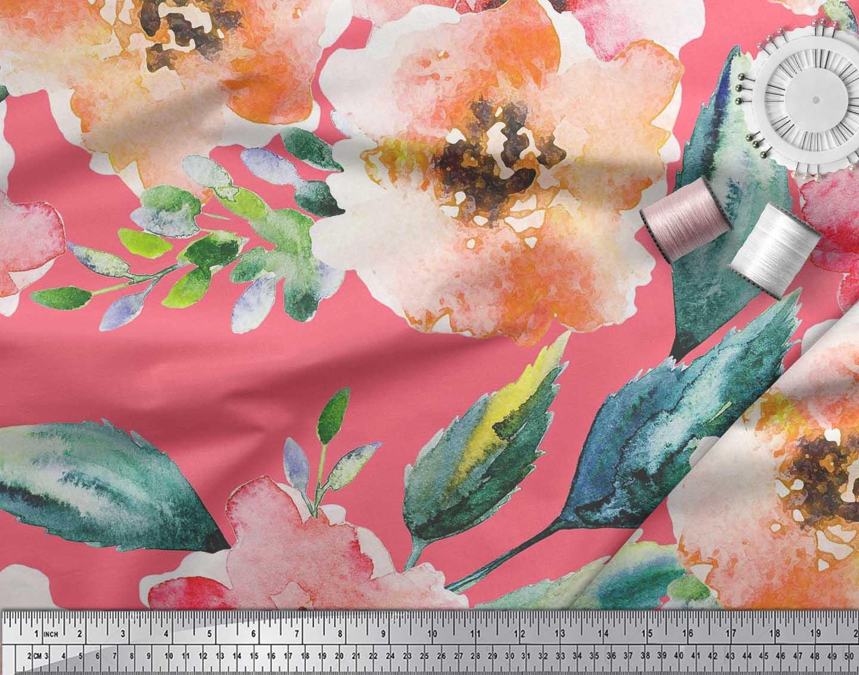 Soimoi-Cotton-Poplin-Fabric-Flower-amp-Leaves-Watercolor-Fabric-Prints-eDi thumbnail 3